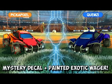 ANOTHER INSANE MYSTERY UNIVERSAL DECAL 1v1 ROCKET LEAGUE WAGER! | pickapixel vs Quemzi