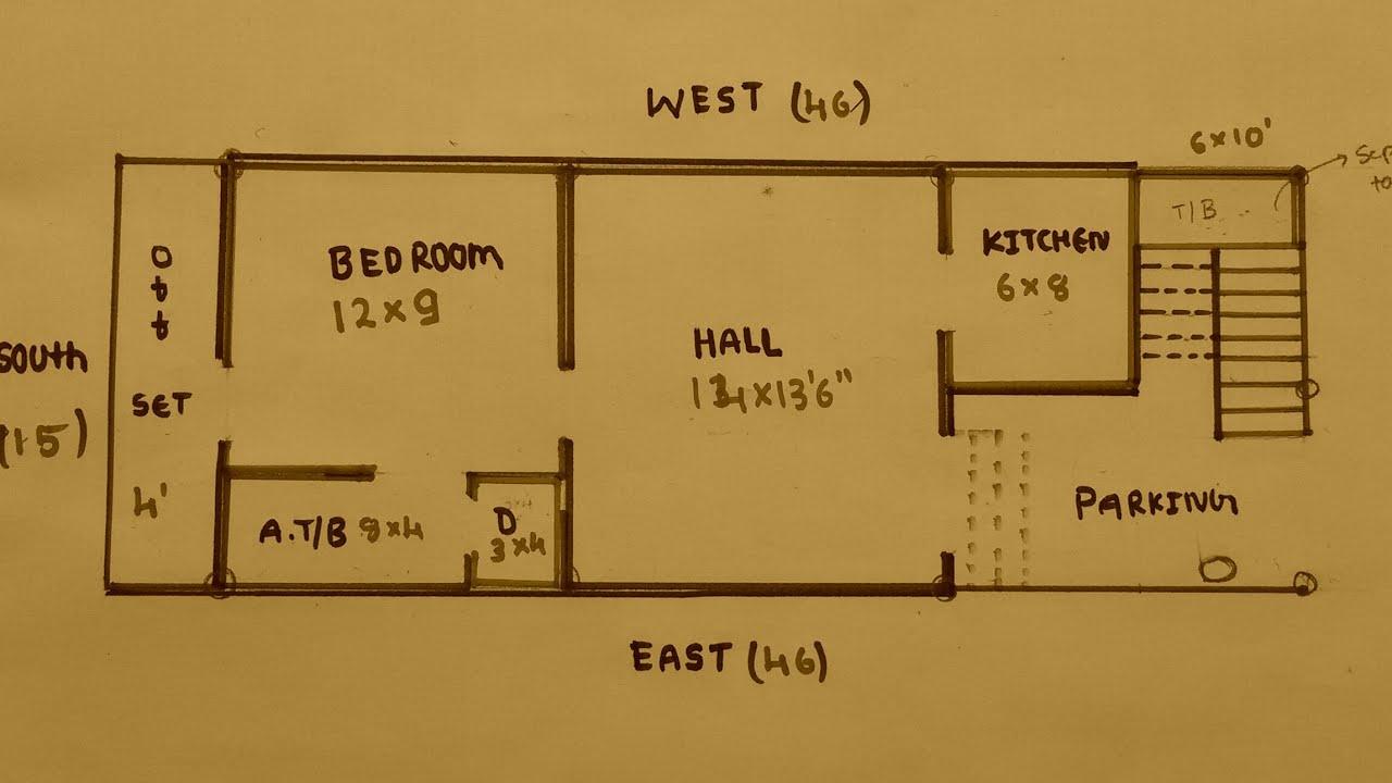 15 × 46 North Face House plan map naksha