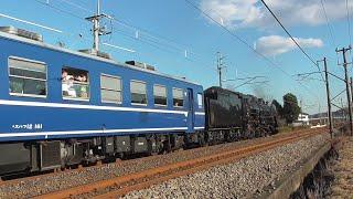 2019年12月14日 今年最後の快速「SL ぐんま よこかわ」 蒸気機関車C61 20+12系客車5両+電気機関車EF64 1053 信越線 松井田~磯部 間
