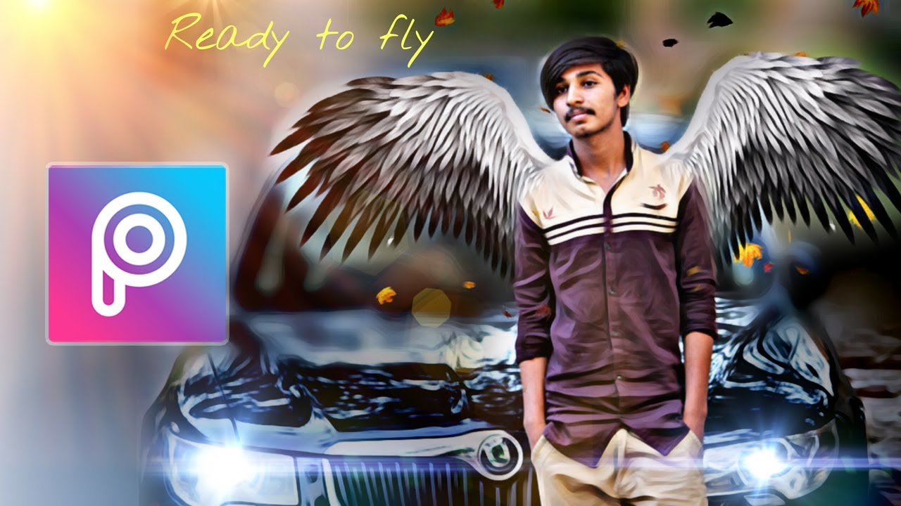 picsart creative photo editing | background blur effect and wings edit