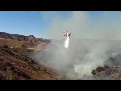 California Wildfire with Helicopter Water Drop