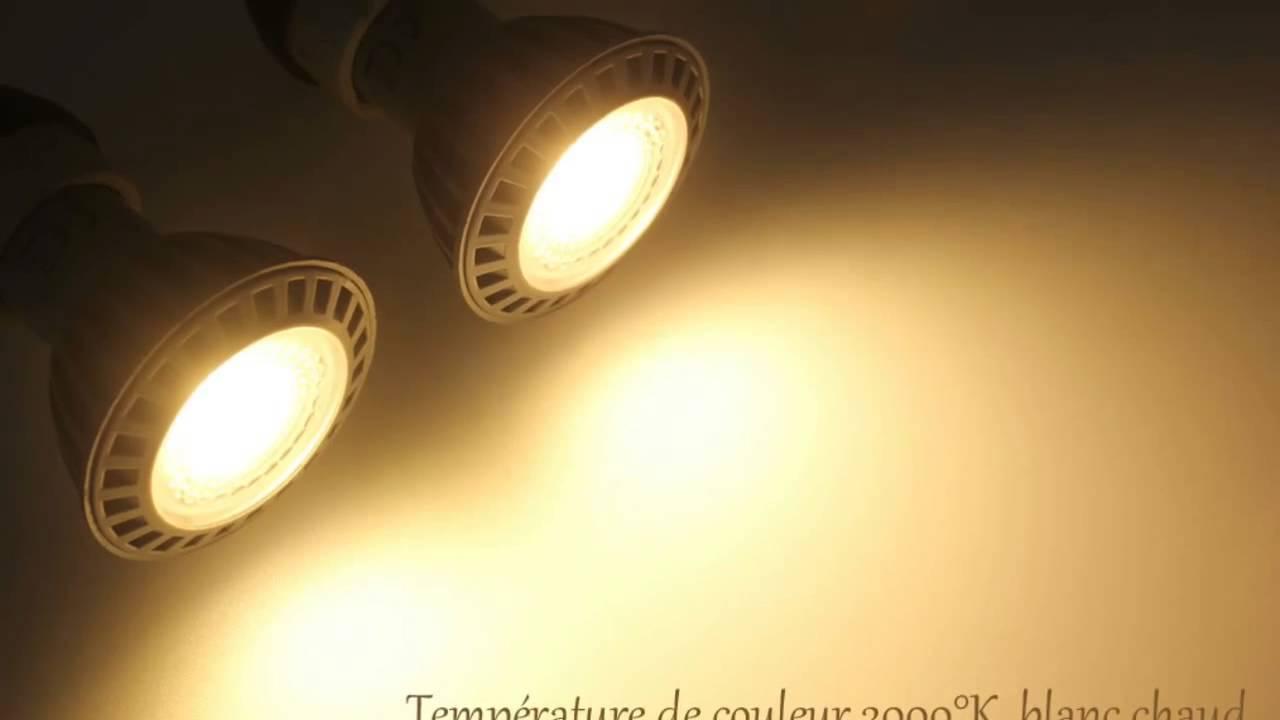 ampoule led cob gu10 6w 450 lm 110 blanc chaud youtube. Black Bedroom Furniture Sets. Home Design Ideas