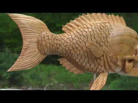 Woodcarving A Skull Fish