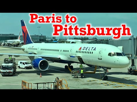 Full Flight: Delta Air Lines B757-200 Paris to Pittsburgh (CDG-PIT)