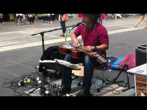 One man band - brilliant street performance by George kamikawa on burke street Melbourne