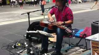 One man band - brilliant street performance by George kamikawa on burke street Melbourne