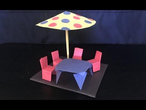 How to make table and chair with paper - DIY | silla y mesa de papel | కాగితం కుర్చీ మరియు టేబుల్
