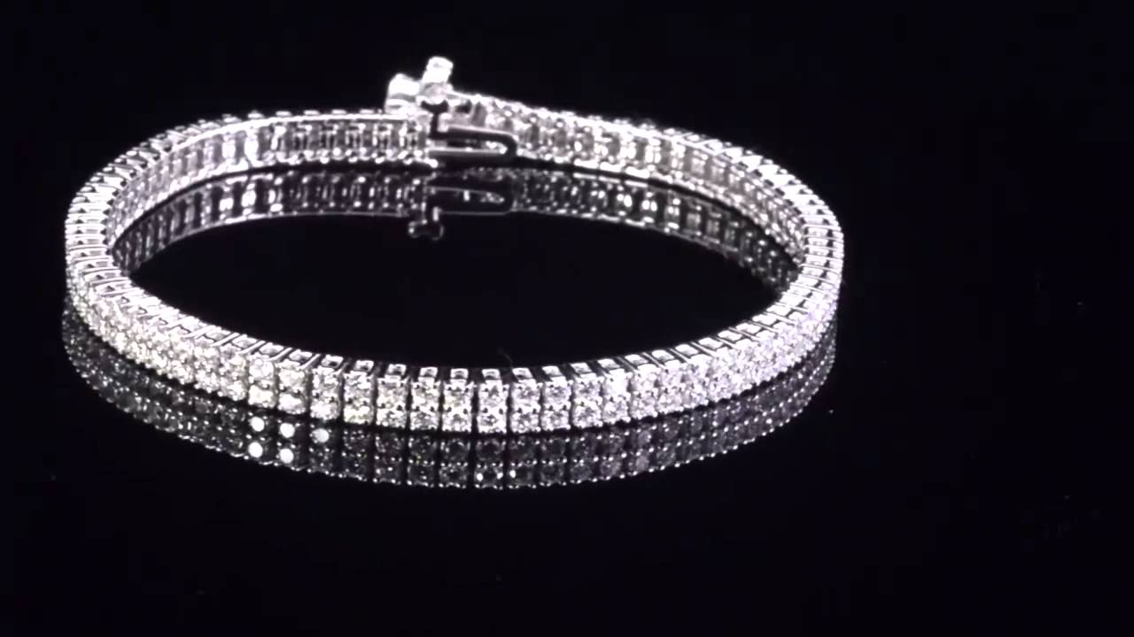 Round Brilliant Eternity Double Row 4 00ctw Vs2 Near Colorless I 14kt White Gold Diamond Bracelet Costco
