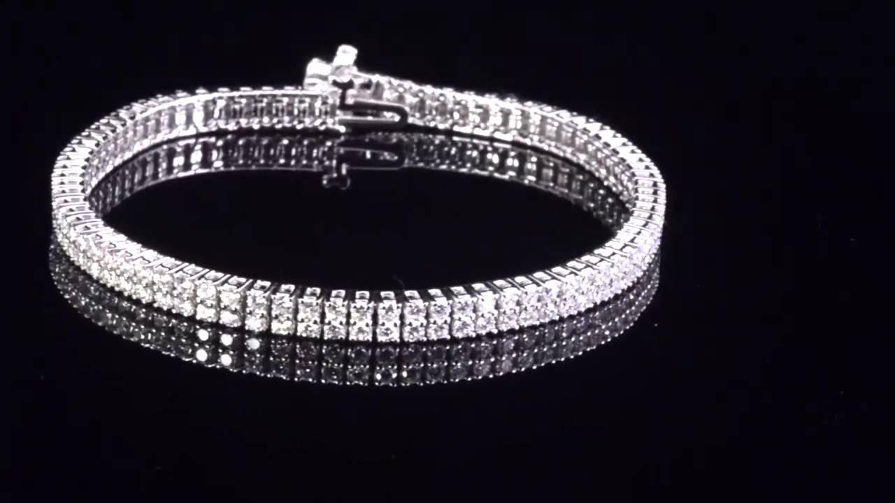 Round Brilliant Eternity Double Row 4 00ctw Vs2 Near Colorless I 14kt White Gold Diamond Bracelet Costco