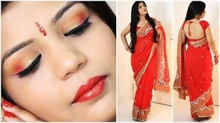 How To Do Indian Party Makeup And Wear Saree    SuperPrincessjo