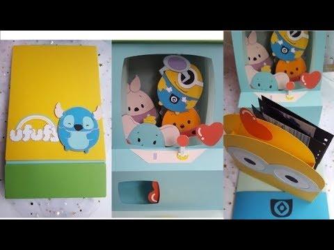 ufufy*小小兵款*夾娃娃機立體卡片( ‿ )內部機臺製作教學 - YouTube