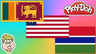 Play-Doh Flags! Sri Lanka, Liberia, and The Gambia! EWMJ #428