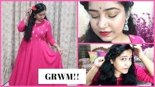 Karwa Chauth : Hair, Makeup and Outfit | GRWM For Karwa Chauth |  Diwalog 2018