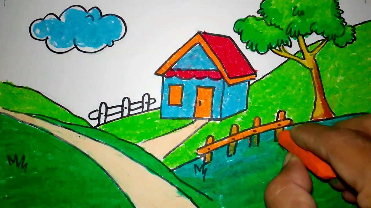 cara menggambar rumah di lereng bukit - YouTube