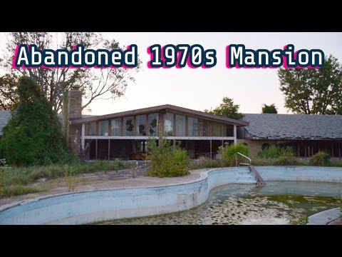 abandoned 70s mansion w huge outside pool indoor poolbar area 71