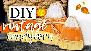 DIY WOODEN CANDY CORN DECORATIONS 🍂 AUTUMN DECOR 2019