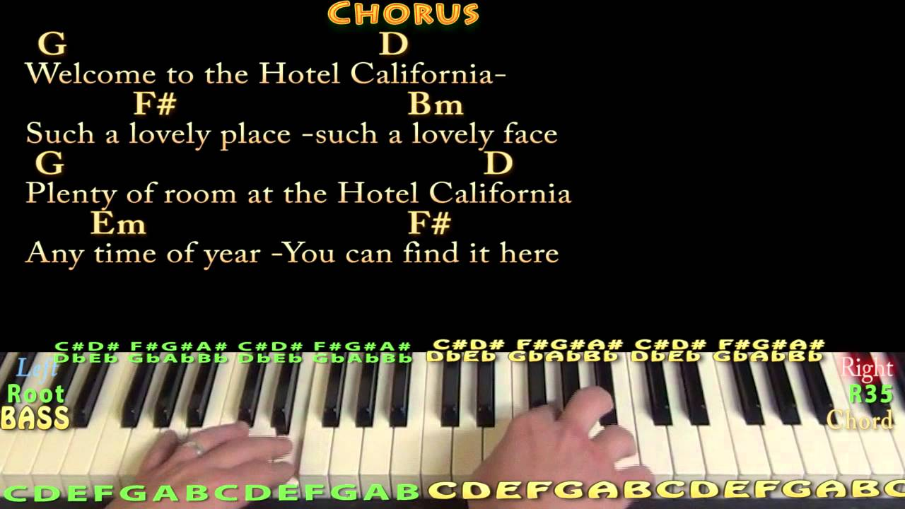 Hotel California Eagles Piano Cover Lesson With Chords Lyrics Youtube