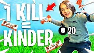 1 KILL = 1 KINDER POUR CETTE ENFANT DE 10 ANS SUR FORTNITE !