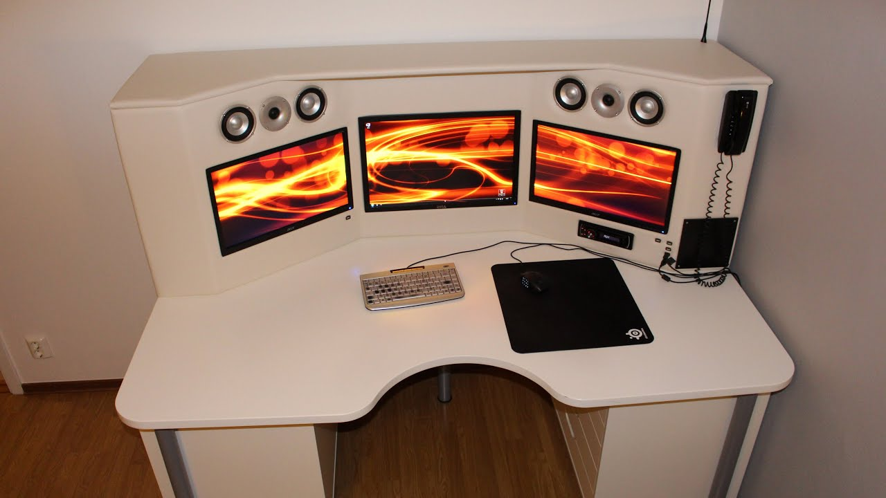 ultimate computer desk with integrated monitors youtube