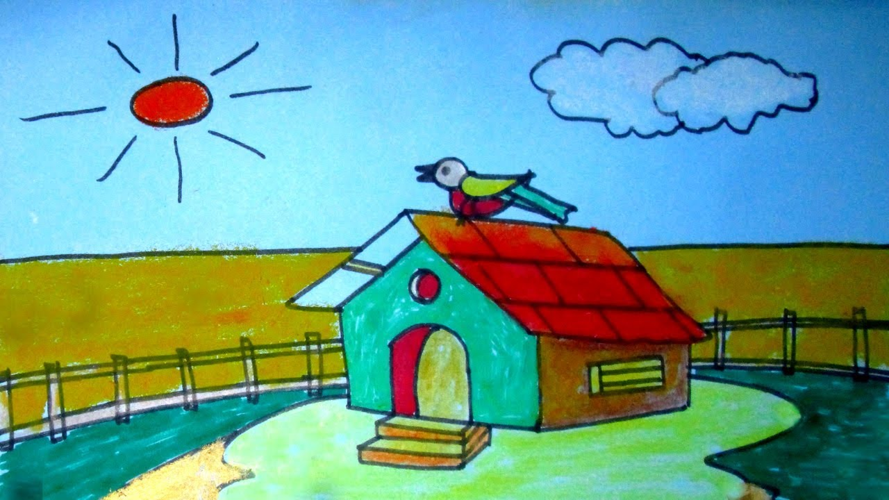 Easy Kids drawing tutorial- How to draw a beautiful hut ...