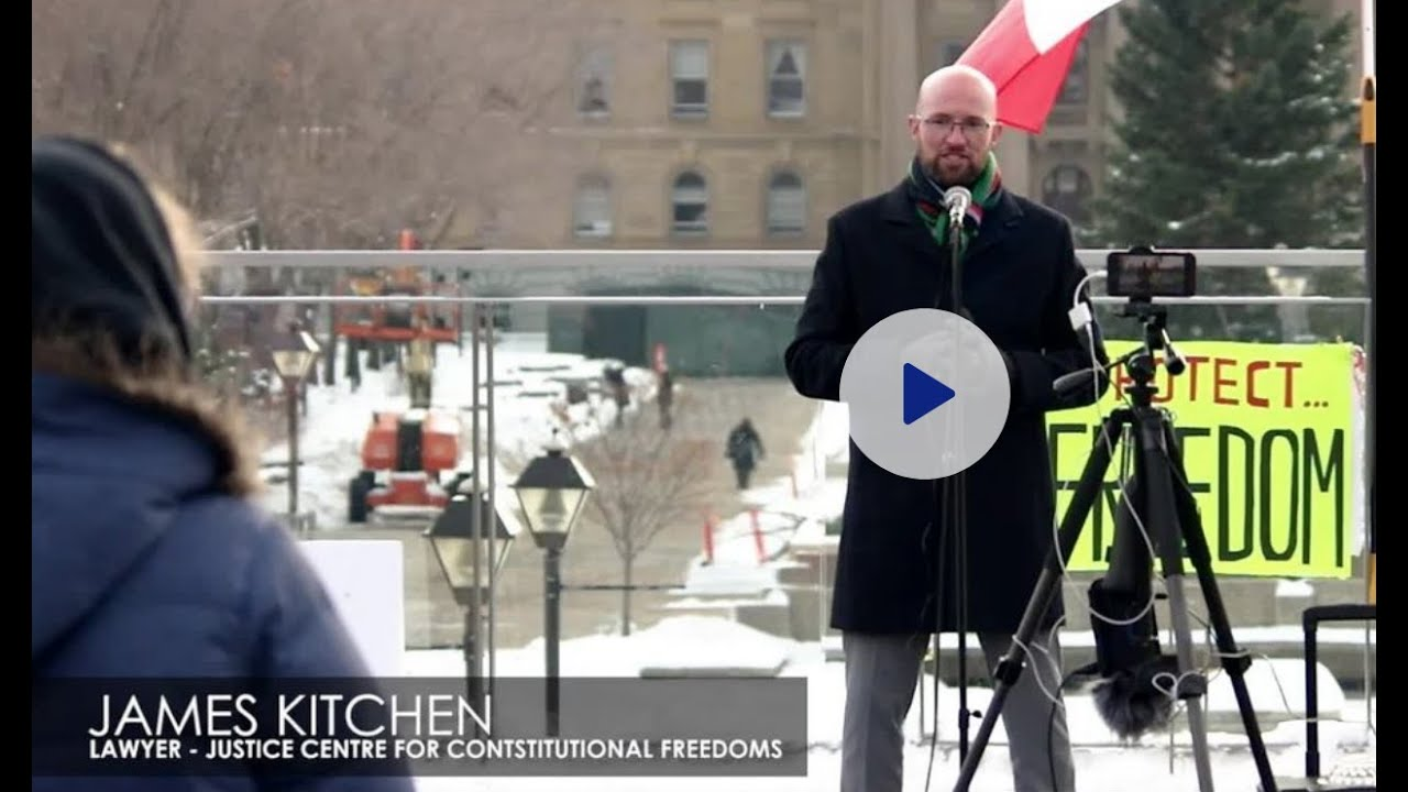 Justice Centre lawyer James Kitchen speaking at the Edmonton freedom rally November 14, 2020
