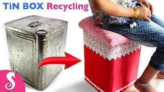 Tin BOX Idea | Make Easy STOOL & TABLE reusing Waste TiN BOX | Best Out of Waste with Tin Box thumbnail