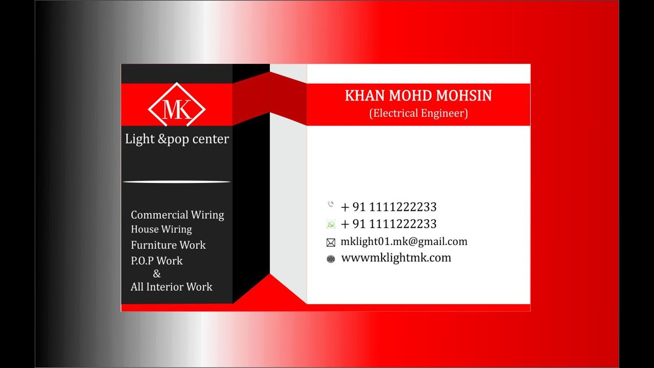 Business Card Design Mk Logo Design Second Tutorial Corel Draw X6 Youtube