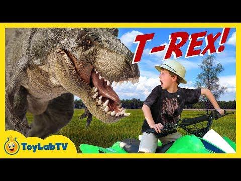 HUGE T-REX DINOSAUR Chases Park Ranger LB on Kids ATV Ride On Toy Car IRL Fun Jurassic Adventure