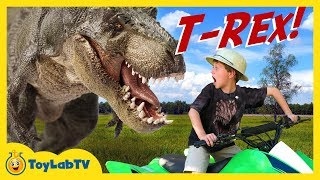 HUGE T-REX DINOSAUR Chases Park Ranger LB on Kids ATV Ride On Toy Car Fun Jurassic Adventure