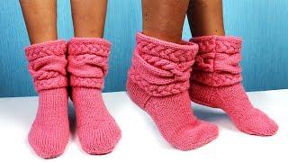 Вязаные носки с косами. Вязание спицами.