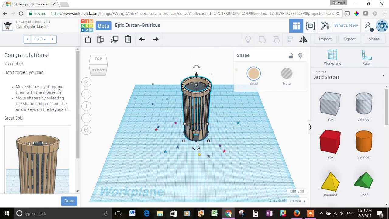 3d Modeling with Tinkercad - Getting Started: Basic Skills Lessons 1-2