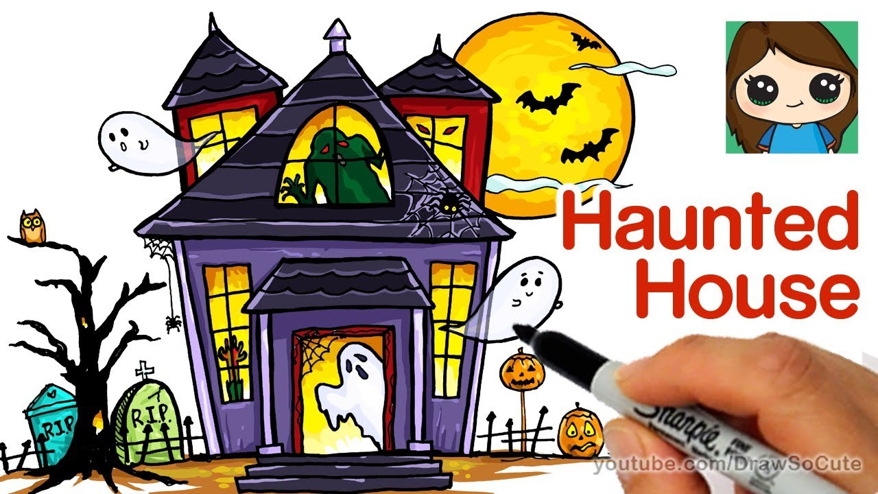 How to draw a haunted house easy youtube Haunted house drawing ideas
