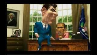 Cartoon Ronald Reagan implements Socialism