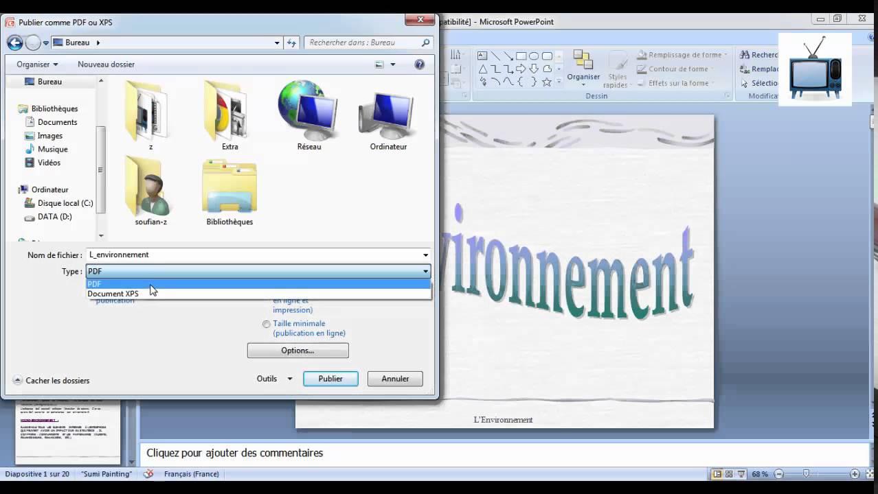 comment convertir un document powerpoint en pdf