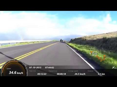 Biking down Haleakala volcano in Maui, Hawaii (HD)