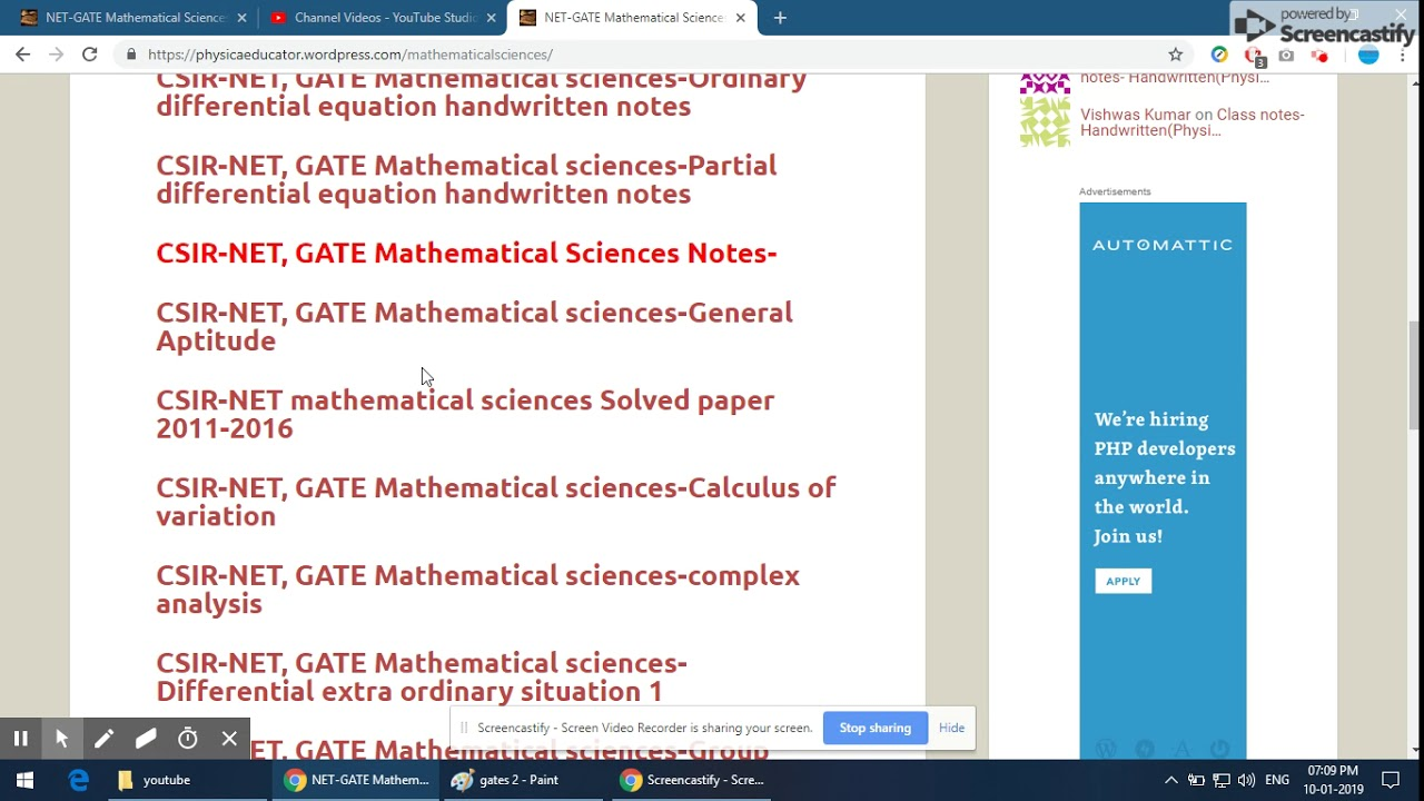 Study Material for JAM GATE NET Mathematics students !! 100% Free !! Class  Notes