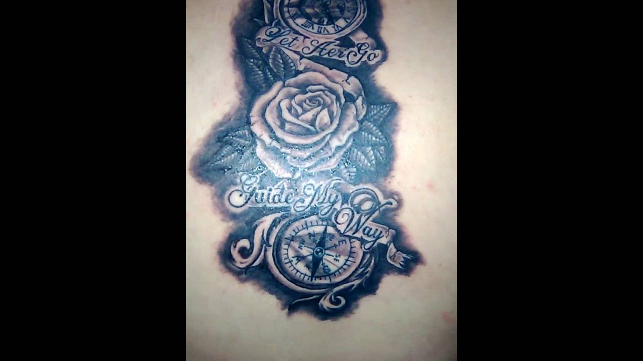 Tatuaje De Reloj Y Brujula A Escala De Negro Gris Youtube