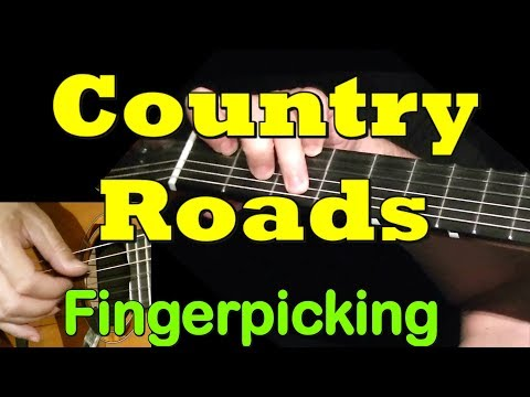 COUNTRY ROADS: Fingerpicking Guitar Lesson + TAB by GuitarNick