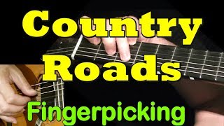 COUNTRY ROADS: Fingerpicking Guitar Lesson + TAB by GuitarNick Mp3