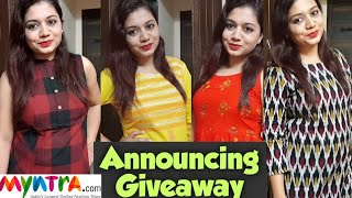 🌟Myntra Kurta Palazzo Set/ Kurti Haul|🌟 Announcing Giveaway🌟😃| Best Collection | Pink's House🌟