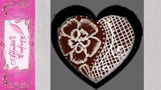 Elegant Lace Heart Cookie Decorated With Royal Icing. Part 1 Of 3 Designs