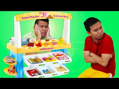 Funny Uncles & Auntie Pretend Play W/ Ice Cream Shop Kids Toys