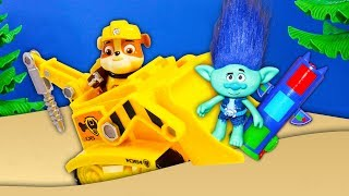 Paw Patrol Rubble Buries Surprises in HUGE Sandbox with Trolls and PJ Mask