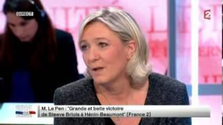 Marine Le Pen commente les résultats du 1er tour des élections municipales 2014