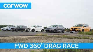 i30N vs Type-R vs Megane RS vs Cupra R vs 308 GTi - 360° DRAG & ROLLING RACE