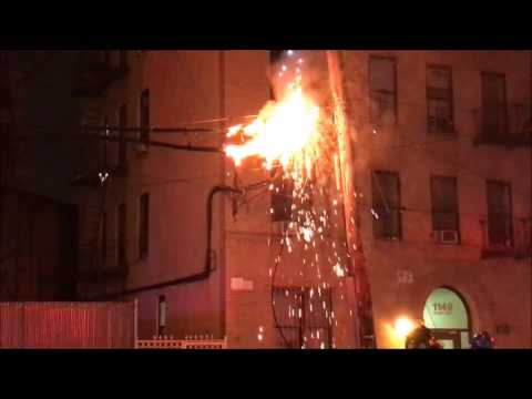 ELECTRICAL WIRES FIRE STARTED BY LARGER 3RD ALARM FIRE ON TIFFANY ST. IN MORRISANIA, THE BRONX, NYC.