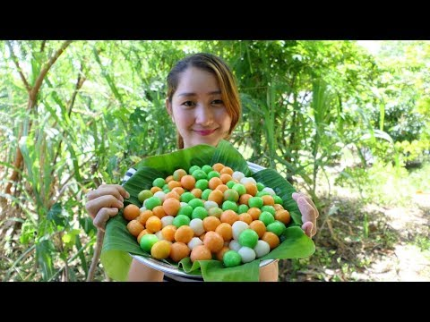 Yummy Sticky Rice With Palm Sugar Ball Cake – Sticky Rice Cooking Palm Sugar – Cooking With Sros