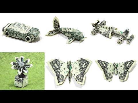 ORIGAMI DOLLAR TUTORIALS COMPILATION: WON PARK (time Lapse) 折り紙  KOI FLOWER FORMULA 1 CAR BUTTERFLY