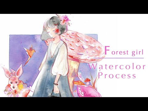 Forest girl - Watercolor Painting