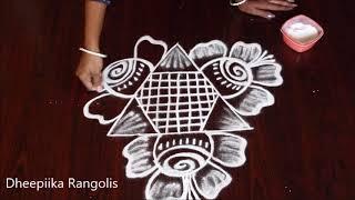very easy freehand rangoli design without dots * small rose kolam design * Apartment muggulu